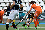 GER - Mannheim, Germany, May 16: During the whitsun tournament boys hockey match between Germany (black) and The Netherlands (orange) on May 16, 2016 at Mannheimer HC in Mannheim, Germany. Final score 4-3 (HT 2-0). (Photo by Dirk Markgraf / www.265-images.com) *** Local caption *** Luca Wolff #19 of Germany (U16), Joost van Eijck #15 of The Netherlands