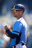 Charlotte Stone Crabs manager Michael Johns (9) during a game against the Palm Beach Cardinals on April 10, 2016 at Charlotte Sports Park in Port Charlotte, Florida.  Palm Beach defeated Charlotte 4-1.  (Mike Janes/Four Seam Images)