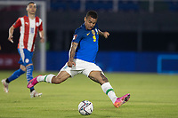 8th June 2021; Defensores del Chaco Stadium, Asuncion, Paraguay; World Cup football 2022 qualifiers; Paraguay versus Brazil;   Gabriel Jesus of Brazil takes a shot at goal