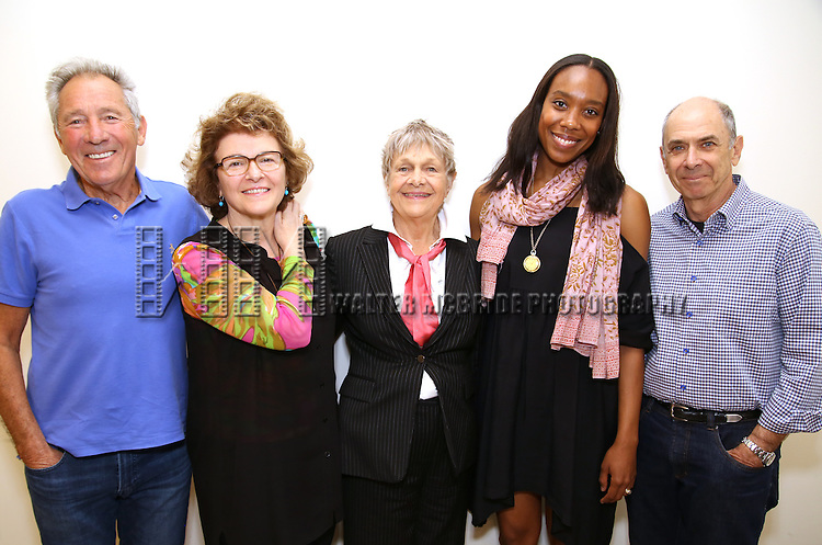 Playwright Israel Horovitz, Angelina Fiordellisi, Estelle Parsons, Francesca Choy-Kee and director Barnet Kellman attend the 'Out Of The Mouths Of Babes' Off-Broadway Photo Call at MTC Rehearsal Studios on May 12, 2016 in New York City.