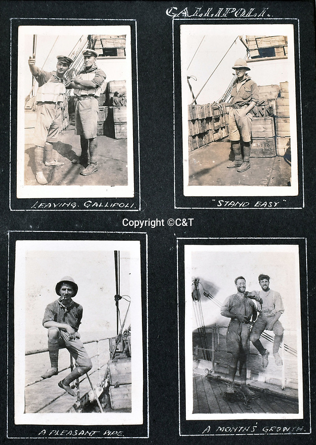 BNPS.co.uk (01202 558833)<br /> Pic: C&T/BNPS<br /> <br /> This page shows the relieved RNAS survivors leaving Gallipoli after the unsuccessful campaign that cost Churchill his job at the Admiralty.<br /> <br /> Never before seen photos of the disastrous Gallipoli campaign have come to light over a century later.<br /> <br /> The fascinating snaps were taken by Sub Lieutenant Gilbert Speight who served in the Royal Naval Air Service in World War One.<br /> <br /> They feature in his photo album which covers his eventful war, including a later stint in Egypt.<br /> <br /> There are dramatic photos of the Allies landing at X Beach, as well as sobering images of a mass funeral following the death of 17 Brits. Another harrowing image shows bodies lined up in a mass grave.<br /> <br /> The album, which also shows troops during rare moments of relaxation away from the heat of battle, has emerged for sale with C & T Auctions, of Ashford, Kent. It is expected to fetch £1,500.