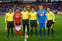 Harrison, NJ - Thursday March 01, 2018: German Mejía, Ricardo Montero Araya, Luis Robles. The New York Red Bulls defeated C.D. Olimpia 2-0 (3-1 on aggregate) during a 2018 CONCACAF Champions League Round of 16 match at Red Bull Arena.