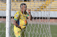 NEIVA - COLOMBIA, 17-09-2020: Omar Duarte del Huila celebra después de anotar el primer gol de su equipo durante partido por la fecha 8 del Torneo BetPlay DIMAYOR I 2020 entre Atlético Huila y Barranquilla F.C. jugado en el estadio Guillermo Plazas Alcid de la ciudad de Neiva. / Omar Duarte of Huila celebrates after scoring the first goal of his team during match for the date 8 as part of BetPlay DIMAYOR Tournament I 2020 between Atletico Huila and Barranquilla F.C. played at the Guillermo Plazas Alcid stadium of Neiva city. VizzorImage / Sergio Reyes / Cont