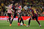 Barcelona´s Sergio Busquets (L) and Athletic de Bilbao´s Inaki Williams Dannis during 2014-15 Copa del Rey final match between Barcelona and Athletic de Bilbao at Camp Nou stadium in Barcelona, Spain. May 30, 2015. (ALTERPHOTOS/Victor Blanco)