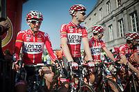 Jelle Vanendert (BEL/Lotto-Belisol) & Pim Ligthart (NLD/Lotto-Belisol) at the start<br /> <br /> Amstel Gold Race 2014