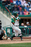 Fort Wayne TinCaps shortstop Reinaldo Ilarraza (12) follows through on a swing during a game against the Wisconsin Timber Rattlers on May 10, 2017 at Parkview Field in Fort Wayne, Indiana.  Fort Wayne defeated Wisconsin 3-2.  (Mike Janes/Four Seam Images)
