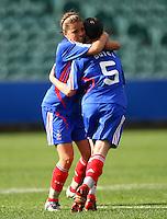 Lea Rubio and Anaig Butel celebrate a goal for France..FIFA U17 Women's World Cup, USA v France, Albany Stadium, Auckland, New Zealand, Wednesday 5 November 2008. Photo: Renee McKay/PHOTOSPORT