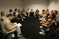4 April 2008: Stanford Cardinal (L-R) Rosalyn Gold-Onwude, Jayne Appel, JJ Hones, Kayla Pedersen, and Candice Wiggins during Stanford's ESPN & NCAA interview for the 2008 NCAA Division I Women's Basketball Final Four at the St. Pete Times Forum Arena in Tampa Bay, FL.