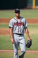 Peoria Javelinas starting pitcher Jeremy Walker (58), of the Atlanta Braves organization, walks off the field between innings of an Arizona Fall League game against the Mesa Solar Sox at Sloan Park on October 24, 2018 in Mesa, Arizona. Mesa defeated Peoria 4-3. (Zachary Lucy/Four Seam Images)