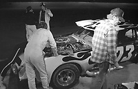 The #73 Chevrolet Camaro of Clark Howey, David Crabtree and Tracy Wolf makes a pit stop en route to a 61st place finish in the SunBank 24 at Daytona, Daytona International Speedway, Daytona Beach, FL, Feb. 4-5, 1984. (Photo by Brian Cleary/www.bcpix.com)