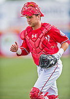 5 March 2016: Washington Nationals catcher Spencer Kieboom enters a Spring Training pre-season game against the Detroit Tigers at Space Coast Stadium in Viera, Florida. The Nationals defeated the Tigers 8-4 in Grapefruit League play. Mandatory Credit: Ed Wolfstein Photo *** RAW (NEF) Image File Available ***