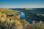 Idaho, South Central, Twin Falls. The Snake River Canyon amd the Snake River winding it's way through Twin Falls, Idaho in morning in Spring.