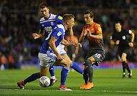 Swansea City's Bersant Celina is tackled by Birmingham City's Michael Morrison during the Sky Bet Championship match between Birmingham City and Swansea City at St Andrew's Trillion Trophy Stadium on August 17, 2018 in Birmingham, England.
