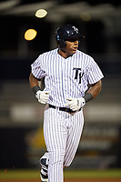 Tampa Yankees designated hitter Jhalan Jackson (38) rounding the bases after hitting a home run in the bottom of the eighth inning during a game against the Fort Myers Miracle on April 12, 2017 at George M. Steinbrenner Field in Tampa, Florida.  Tampa defeated Fort Myers 3-2.  (Mike Janes/Four Seam Images)