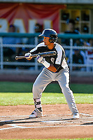 Jonathan Piron (2) of the Grand Junction Rockies at bat against the Orem Owlz in Pioneer League action at Home of the Owlz on July 6, 2016 in Orem, Utah. The Owlz defeated the Rockies 9-1 in Game 1 of the double header.  (Stephen Smith/Four Seam Images)