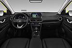 Stock photo of straight dashboard view of a 2018 Hyundai Kona Luxury Launch 5 Door SUV