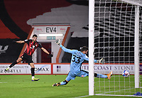 12th January 2021; Vitality Stadium, Bournemouth, Dorset, England; English Football League Championship Football, Bournemouth Athletic versus Millwall; Bartosz Bialkowski of Millwall is unable to stop the shot from Dominic Solanke of Bournemouth who shoots and scores in the 40th minute 1-0