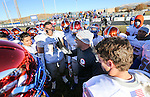 Bishop Gorman Head Coach Kenny Sanchez talks to his players after defeating Reed in an NIAA Division I playoff game at Reed High School in Sparks, Nev., on Saturday, Nov. 28, 2015. Bishop Gorman won 41-13. (Cathleen Allison/Las Vegas Review-Journal)