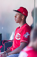 Cincinnati Reds pitcher Hunter Greene (21) watches the action on the field during an Instructional League game against the Kansas City Royals October 2, 2017 at Surprise Stadium in Surprise, Arizona. (Zachary Lucy/Four Seam Images)
