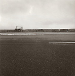 Vintage black and white print scan. File# 77-221. Acadia National Park, ME. roadside pullover.