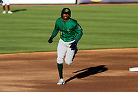 Beloit Snappers outfielder Thomas Jones (27) circles the bases following a home run during a game against the Wisconsin Timber Rattlers on May 4, 2021 at Neuroscience Group Field at Fox Cities Stadium in Grand Chute, Wisconsin.  (Brad Krause/Four Seam Images)