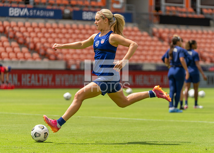 HOUSTON, TX - JUNE 9: Lindsey Horan #9 of the USWNT strikes the ball during a training session at BBVA Stadium on June 9, 2021 in Houston, Texas.