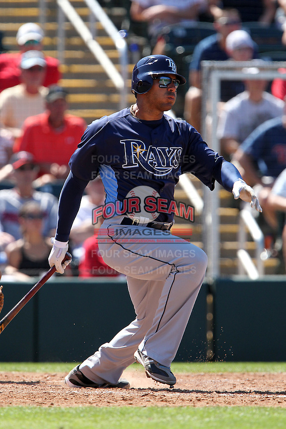 Tampa Bay Rays first baseman Carlos Pena #23 during a spring training game against the Minnesota Twins at Hammond Stadium on March 26, 2012 in Fort Myers, Florida.  The Rays defeated the Twins 10-4.  (Mike Janes/Four Seam Images)