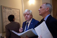 OCTOBER 15, 2015 -TOKYO, JAPAN: Mayor of London Boris Johnson MP and  British Ambassador,  Tim Hitchens (right) at an event at the British Embassy in Tokyo, to encourage collaboration between London and Japan in financial technology.  (Photo / Ko Sasaki - Sinopix)