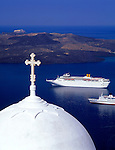 Greece; Cyclades; Santorini; Fira (Thira): white dome, cruise ships anchoring in front of island Nea Kameni