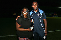 Man of the Match, Myles Weston of Wycombe Wanderers, after the Friendly match between Wycombe Wanderers and Brentford at Adams Park, High Wycombe, England on 19 July 2016. Photo by David Horn / PRiME Media Images.