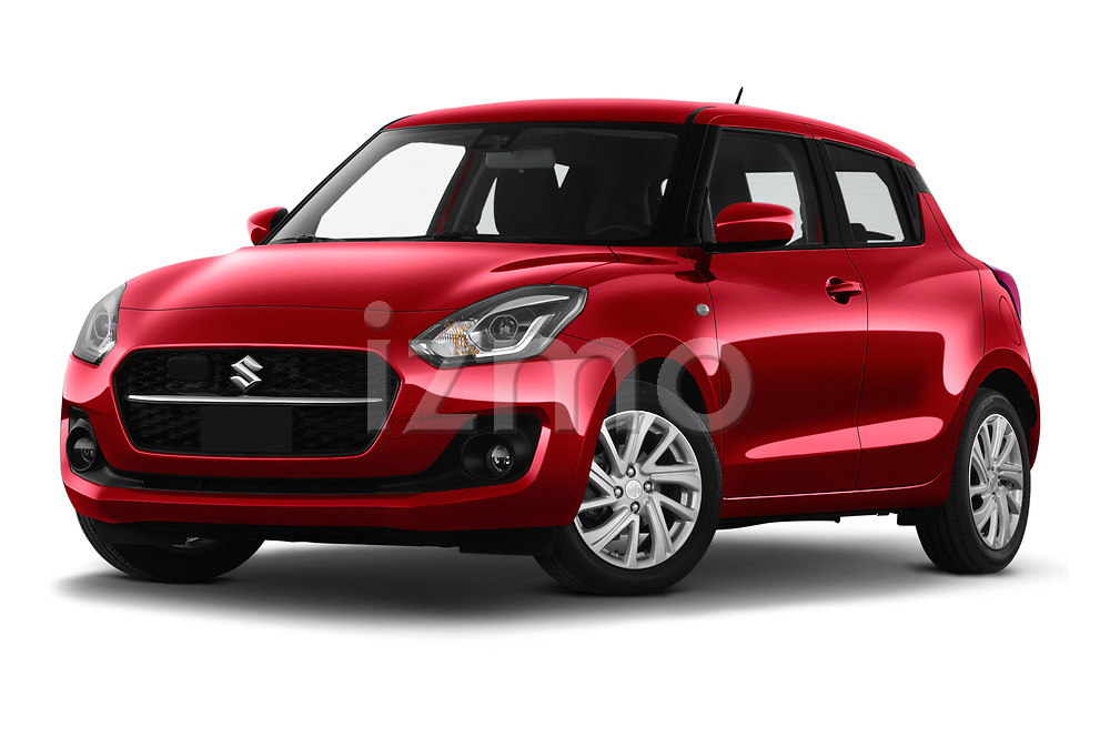 Stock pictures of low aggressive front three quarter view of 2021 Suzuki Swift GL-Plus-Hybrid 5 Door Hatchback Low Aggressive