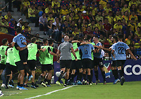 BUCARAMANGA - COLOMBIA, 09-02-2020: Jugadores de Uruguay celebran después de anotar el primer gol de su equipo durante partido entre Colombia U-23 y Uruguay U-23 por el cuadrangular final como parte del torneo CONMEBOL Preolímpico Colombia 2020 jugado en el estadio Alfonso Lopez en Bucaramanga, Colombia. /  Players of Uruguay celebrate after scoring the first goal of their team during the match between Colombia U-23 and Uruguay U-23 for for the final quadrangular as part of CONMEBOL Pre-Olympic Tournament Colombia 2020 played at Alfonso Lopez stadium in Bucaramanga, Colombia. Photo: VizzorImage / Jaime Moreno / Cont