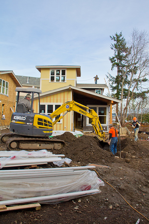 Chico Beach Cottages, New Construction, January 26, 2011, built green, cottage houses, Silverdale, Dyes Inlet, Cottage Company, Seattle, Washington, Pacific Northwest, USA,