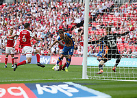 27th May 2018, Wembley Stadium, London, England;  EFL League 1 football, playoff final, Rotherham United versus Shrewsbury Town;  Alex Rodman of Shrewsbury Town shoots to score his sides equalising goal in the 58th minute to make it 1-1
