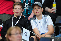 Swansea City fans in action during the Sky Bet Championship match between Swansea City and Nottingham Forest at the Liberty Stadium in Swansea, Wales, UK. Saturday 14 September 2019