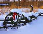 Bureau County, IL<br /> Holiday decorations and fresh snow on a wagon wheel and split rail fence.  Tall grass prairie and winter forest in the background.