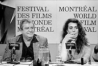 MONTREAL - CANADA - FILE PHOTO - Movie Producer Menahem Golan (L) and actress Maruschka Detmers (R)  at the 1988 World Film Festival in Montreal on  August 27, 1988.<br /> <br /> Golan just passed away, August 8, 2014<br /> <br /> File Photo :  Agence Quebec Presse - Pierre Roussel