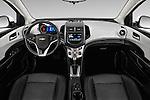 Stock photo of straight dashboard view of 2016 Chevrolet Sonic LTZ 4 Door Sedan Dashboard