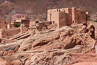 Dades Gorge, Morocco.  Traditional Family Casbah in Village.