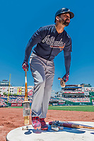 9 July 2017: Atlanta Braves outfielder Matt Kemp stands on deck during a game against the Washington Nationals at Nationals Park in Washington, DC. The Nationals defeated the Braves to split their 4-game series. Mandatory Credit: Ed Wolfstein Photo *** RAW (NEF) Image File Available ***