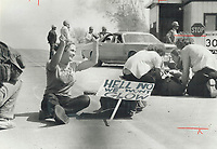 1979 FILE PHOTO - ARCHIVES -<br /> <br /> In scene reminiscent of 1960s; young people demonstrate against nuclear power<br /> <br /> Young protester looks happy she's not glowing<br /> Bezant, Graham<br /> Picture, 1979<br /> <br /> 1979,<br /> <br /> PHOTO : Graham Bezant - Toronto Star Archives - AQP
