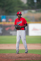 Orem Owlz relief pitcher Adalberto Pena (29) gets ready to deliver a pitch during a Pioneer League game against the Missoula Osprey at Ogren Park Allegiance Field on August 19, 2018 in Missoula, Montana. The Missoula Osprey defeated the Orem Owlz by a score of 8-0. (Zachary Lucy/Four Seam Images)