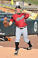 Sacramento River Cats starting pitcher Ty Blach (31) warms up in the bullpen before the game against the Salt Lake Bees in Pacific Coast League action at Smith's Ballpark on April 7, 2016 in Salt Lake City, Utah. Salt Lake defeated Sacramento 5-2. (Stephen Smith/Four Seam Images)
