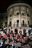 2020 Christmas Tree Lighting<br /> <br /> President Donald J. Trump, joined by First Lady Melania Trump, delivers remarks during the pre-recorded National Christmas Tree Lighting Ceremony Monday, Nov. 30, 2020, on the Blue Room Balcony of the White House. (Official White House Photo by Tia Dufour)