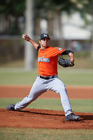 Miami Marlins pitcher Kolton Mahoney (49) during a Minor League Spring Training Intrasquad game on March 27, 2018 at the Roger Dean Stadium Complex in Jupiter, Florida.  (Mike Janes/Four Seam Images)