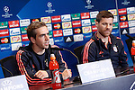 FC Bayern Munchen's Philipp Lahm (l) and Xabi Alonso in press conference  after Champions League 2015/2016 Semi-Finals 1st leg match. April 26,2016. (ALTERPHOTOS/Acero)