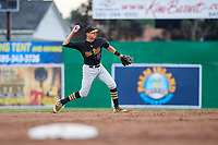 West Virginia Black Bears shortstop Robbie Glendinning (16) throws to first base during a game against the Batavia Muckdogs on June 19, 2018 at Dwyer Stadium in Batavia, New York.  West Virginia defeated Batavia 7-6.  (Mike Janes/Four Seam Images)
