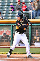 Taylor Lindsey (8) of the Salt Lake Bees at bat against the Sacramento River Cats at Smith's Ballpark on April 5, 2014 in Salt Lake City, Utah.  (Stephen Smith/Four Seam Images)