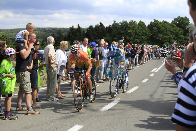 The breakaway group consisting of Maxime Bouet (FRA) AG2R La Mondiale, Nicolas Edet (FRA) Cofidis, Pablo Urtasun Perez (ESP) Euskaltel-Eskadi, Michael Morkov (DEN) Saxo Bank-Tinkoff Bank, Anthony Delaplace (FRA) Saur-Sojasun and Yohann Gene (FRA) Team Europcar climbs the Cote De Barvaux during Stage 1 of the 99th edition of the Tour de France, running 198km from Liege to Seraing, Belgium. 1st July 2012.<br /> (Photo by Eoin Clarke/NEWSFILE)