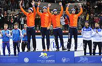 SHORT TRACK: TORINO: 15-01-2017, Palavela, ISU European Short Track Speed Skating Championships, Relay Men, Gold medal, Team Netherlands, Daan Breeuwsma, Dylan Hoogerwerf, Sjinkie Knegt, Itzhak de Laat, ©photo Martin de Jong